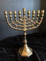 "1960's Jerusalem Menorah 9"" Inch Height Brass 9 Branches Menorah Jewish Israel"