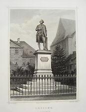 Braunschweig Lessing Denkmal   seltener echter alter Stahlstich 1840