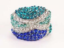 Blue Sapphire Turquoise Crystal Stretch Cocktail Ring Silver Tone Band