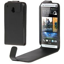 COVER CUSTODIA FLIP CASE per HTC ONE MINI M4 IN PELLE FODERO NERO NUOVO FLAP