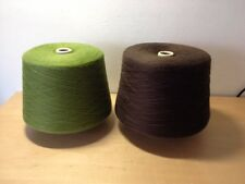 New - Two BALLS COTTON YARN DOS OVILLOS DE HILO DE ALGODON - Verde y Marron