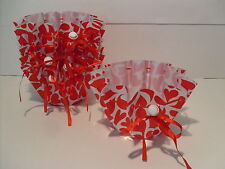 """RED HEART LOVE CONTAINER~NEW~LOT OF 6 PC DISH OR 4"""" PLANT COVER TABLE/WEDDING"""