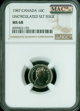 1987 CANADA 10 CENTS NGC MAC MS-68 PQ 2ND FINEST GRADE SPOTLESS POP-1 .