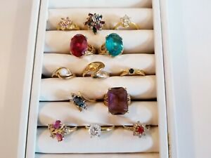 STUNNING Vintage Mod Ring LOT 18khge 14kge Cellini 18khge Avon+