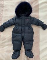 New Ferrari Boys Or Unisex Snowsuit 9m Navy One-piece Baby Jacket Fur RRP$450