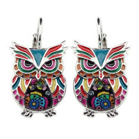 Enamel Alloy Owl Bird Earring Stud Clip Animal Decor Jewelry For Women Girl Gift