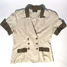 VINTAGE 80s TANTRUM! leopard print trim beige gold Double Breasted Women's M