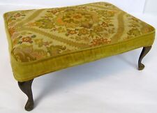 """Antique 19"""" French Metal Leg Needlepoint Floral Rose Daisy Foot Stool Ottoman"""