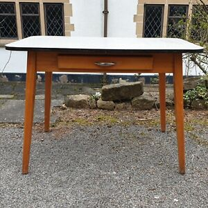 A Vintage Retro Mid Century Style Formica Top Kitchen Table with Splayed Legs