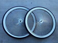 """26"""" 144 Spokes Wheelset w white wall tires Beach Cruiser Lowrider Stretch Bikes"""