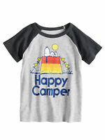 Toddler Boys Peanuts Snoopy Woodstock Happy Camper Tent Camping Raglan T-Shirt