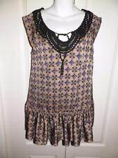 FREE PEOPLE Multi Print CROCHET STUDDED BEADED TRIM Shirt Blouse Size 6