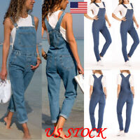 Women's Denim Jeans Full Length Pinafore Dungaree Overalls Jumpsuit Ropers Plus