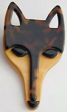 Lea Stein Paris Brooch Pin Fox Face Head Brown