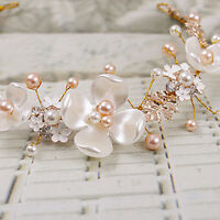 Women Bridal Hair Clip Headband Pearl Gold Wedding Hair Accessories Jewelry Gold