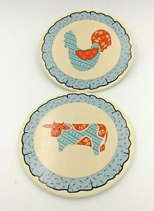 """Decorative Ceramic Plates Farm Country Animal Cow Rooster Rustic Blue Orange 6"""""""