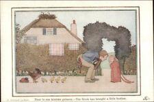 H Willebeek Le Mair Stork Has Brought a Brother Nursery Rhyme c1910 Postcard