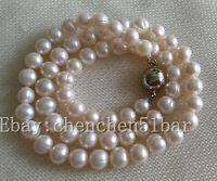 gezüchtete 6.5-7.5 mm weiße Süßwasserperlen Halskette 18-Zoll-Magnetverschluss