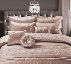 Luxuries CASSANDRA EMBROIDERED Satin Silk Duvet Quilt Cover Set Or Bedspread Set