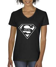 New Way 164 - Women's V-Neck T-Shirt Super Mom Superman Parody Logo