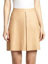 Alice & Olivia Bone Vachetta Brown Leather Inverted Pleat Russo Skirt $598 NWT 2