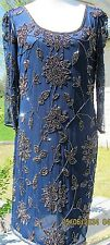 NWT Pisarro Nights gorgeous navy blue fully beaded knee length cocktail dress 14
