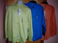NWT NEW mens chartreuse yellow blue orange VAN HEUSEN lux sateen dress shirt $45