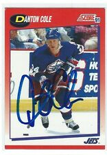 Danton Cole Signed 1991/92 Score Canadian Card #240