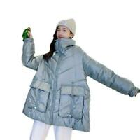Women's Fashion Glossy Down Cotton Jacket Winter Loose Padded Casual Cape Coat D