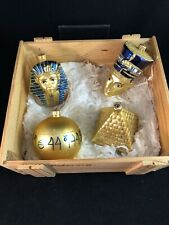 Kurt Adler Polonaise Egyptian 4 Ornament Crate Pyramid, Pharaoh, Ball, King Tut