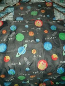 single space planets grey/multicoloured duvet cover set 100% polyester