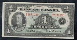 1935 Bank of Canada $1 - Nice EF, B Series - S/N: B2871230/D