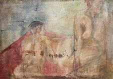 Vintage oil painting nude couple portrait