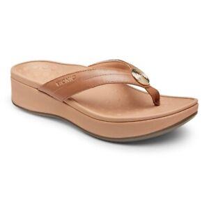 Vionic Womens Pacific Pilar Thong Sandals Brown Platform Heel Slip On 9 New