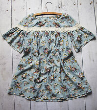 Vintage Style Light Blue Floral Print With Lace Top Blouse Size L Anthropologie