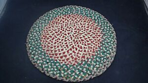 """Vintage Small Wool Braided Rug Table Centerpiece 14 1/2"""" diameter Green Red"""