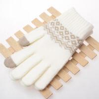Touch Screen Gloves Women Men Warm Winter Stretch Knit Mittens Wool Full Finger