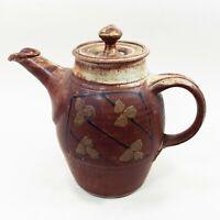 Vintage MCM Studio Art Pottery Clay Teapot Hand Painted Japanese Stoneware Raku