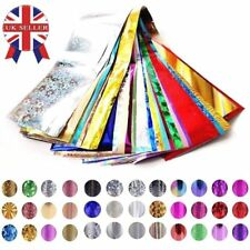 50 x Nail Foils - Mixed Nail Art Transfer Foil Wraps Decal Glitter Stickers Glue