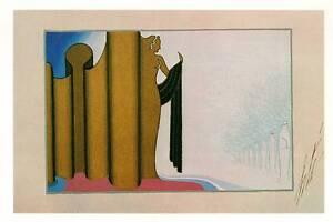 Vintage Erte Art Deco Print 1921 Furs The Otter Stage Set