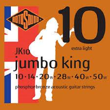 1 Set Rotosound JK10 Extra Luz Cuerdas Acústica Jumbo rey de bronce fosforoso