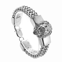 Cool Silver Stainless Steel Lion Head Franco Link Curb Chain Bracelet for Men