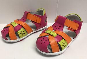Pediped Nikki Pink Orange Sandals Toddler Girls Sz 6-6.5