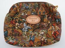 Gobelins Art Make Up Bag Embroidered Tapestry MEDIEVAL Scene Brown Zip Pouch
