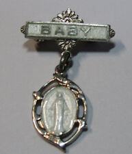 "† VINTAGE TINY STERLING ""MIRACULOUS MEDAL"" GUIILLOCHE PIN BABY INFANT NEWBORN †"