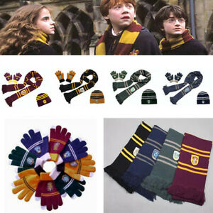 Harry Potter Scarf Gryffindor-Slytherin-Hufflepuff-Raveclaw Kint Hat Touch Glove