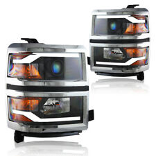 WINJET 2014-2015 Chevy Silverado Projector Headlights DRL LED Glow Bar Black SET