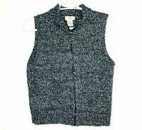 Talbots Size Medium Winter Vest Womens Gray White & Black Zip Front