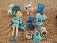 """Polly Pocket Lot """"Colors of the Rainbow"""" Doll Blue Pets Cat Dog Accessory L37"""