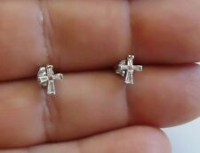 925 STERLING SILVER CROSS STUD EARRINGS WITH BAGUETTE ACCENTS/ 8MM BY 7MM